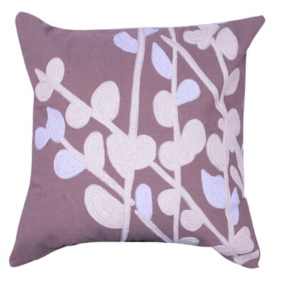 Parker Embroidered Throw Pillow Color: Taupe