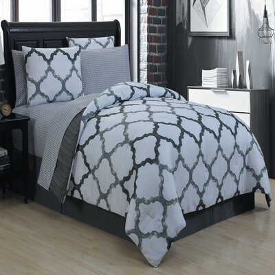 Betsy 8 Piece King Bed in a Bag Set Size: King, Color: Black