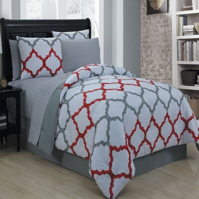 Betsy 8 Piece King Bed in a Bag Set Size: Queen, Color: Red
