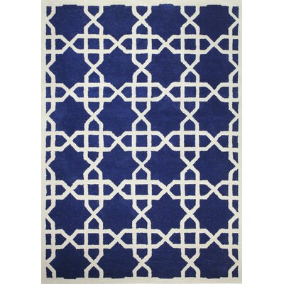 Salvatore Hand-Tufted Navy Area Rug Rug Size: 76 x 96