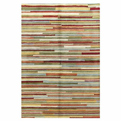 Amparo Hand-Tufted Beige/Red/Green Area Rug Rug Size: 36 x 56