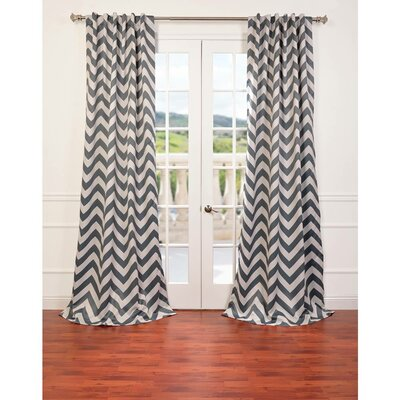 Angela Chevron Blackout Rod Pocket Curtain Panel