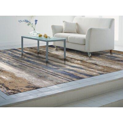 Ashlee Ivory/Blue Area Rug Rug Size: 53 x 77