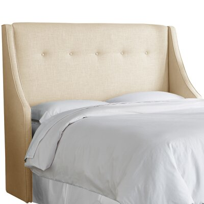 Andy Tufted Upholstered Wingback Headboard Size: California King, Upholstery Color: Sandstone