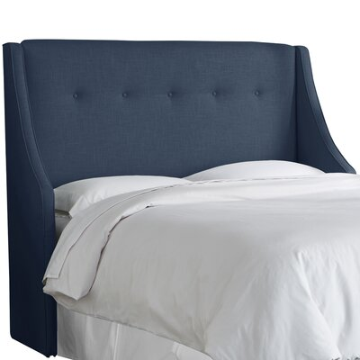 Andy Tufted Upholstered Wingback Headboard Size: Full, Upholstery Color: Navy