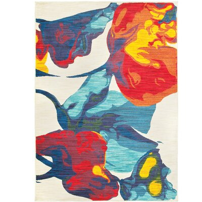 Angelia Beige/Red/Blue Area Rug Rug Size: 53 x 76