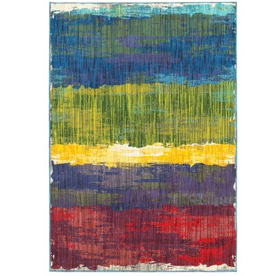 Angelia Red/Blue/Yellow Area Rug Rug Size: 67 x 96