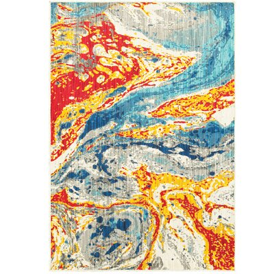 Angelia Yellow/Red/Blue Area Rug Rug Size: 53 x 76