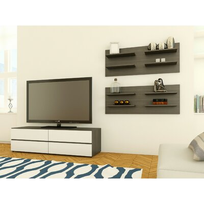 Maryjo 60 TV Stand Color: White and Ebony with Flip Doors