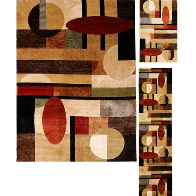 Cathryn Modern Shapes 3 Piece Rug Set