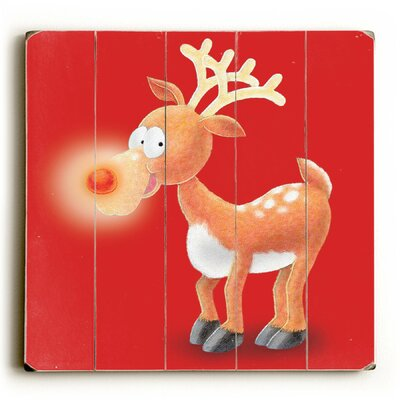 Rudolph on Red Wooden Graphic Art Plaque