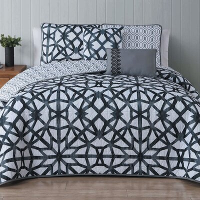 Bridgette 5 Piece Quilt Set Size: King, Color: Black