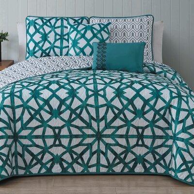 Bridgette 5 Piece Quilt Set Size: Queen, Color: Teal
