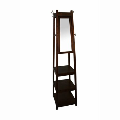 Riles 3-Tier Tower Shoe/Coat Rack with Mirror Finish: Cherry