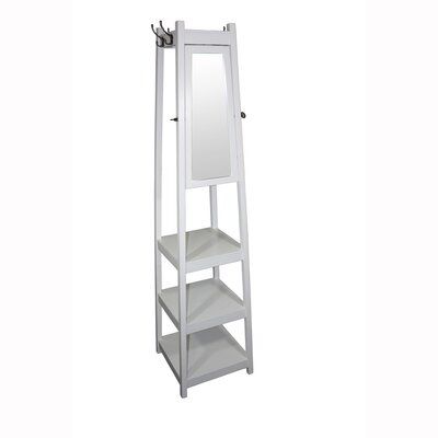 Riles 3-Tier Tower Shoe/Coat Rack with Mirror Finish: White