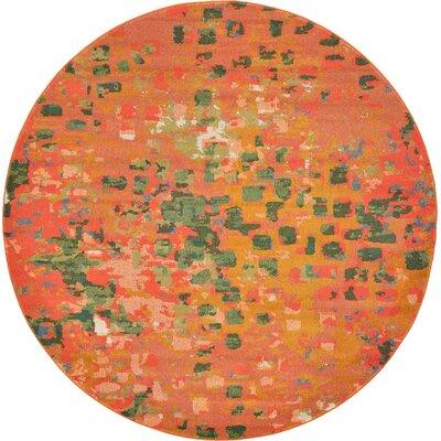 Lilia Orange Area Rug Rug Size: Round 6
