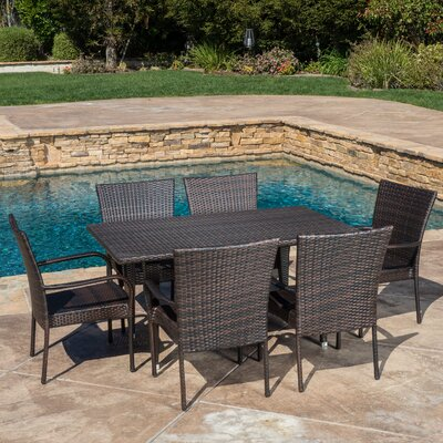 Marissa Outdoor 7 Piece Dining Set Color: Multibrown