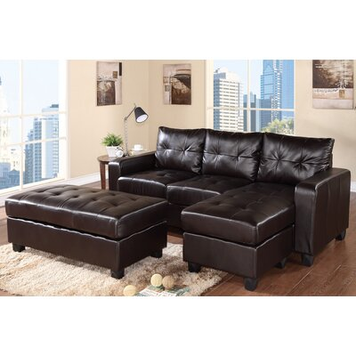 Latitude Run LTRN2322 27751034 Reversible Chaise Sectional in Espresso