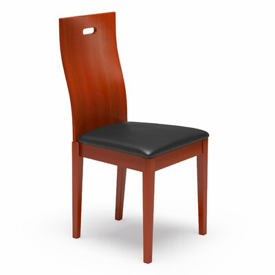 Cheri Genuine Leather Upholstered Dining Chair Upholstery: Black, Finish: Cherry