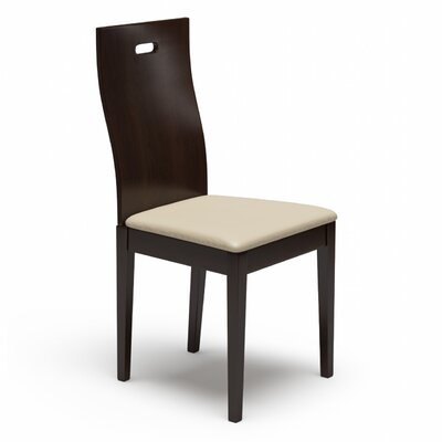 Cheri Genuine Leather Upholstered Dining Chair Finish: Coffee, Upholstery: Cream