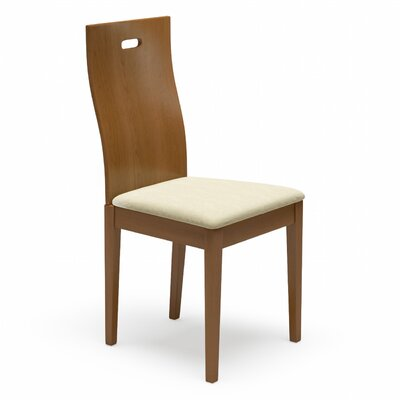 Cheri Genuine Leather Upholstered Dining Chair Finish: Walnut, Upholstery: Cream