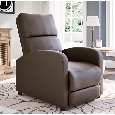 Anneri Bonded Leather Recliner Upholstery: Brown