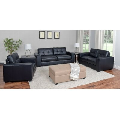 Kaye 3 Piece Living Room Set Upholstery: Black