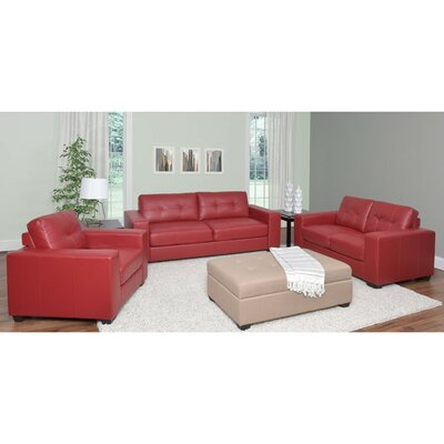 Kaye 3 Piece Sofa Set Upholstery: Red