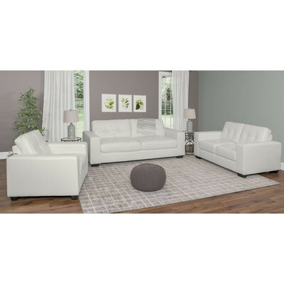 Kaye 3 Piece Living Room Set Upholstery: White