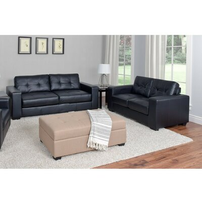 Kaye 2 Piece Sofa Set Upholstery: Black