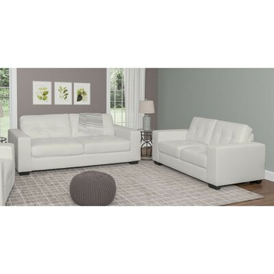 Kaye 2 Piece Sofa Set Upholstery: White