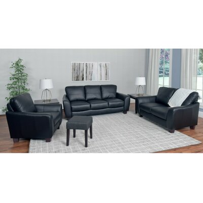 Lacy 3 Piece Living Room Set Upholstery: Black