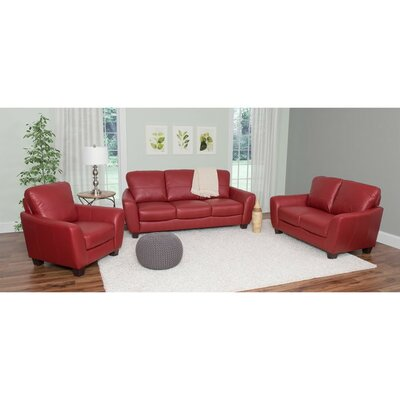 Lacy 3 Piece Living Room Set Upholstery: Red
