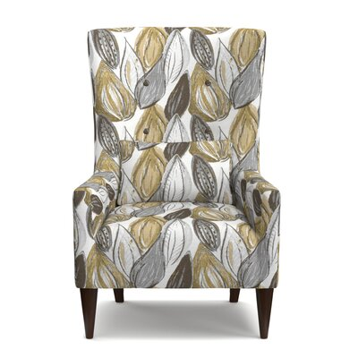 Lesley Wingback Chair Upholstery: Yellow/Gray/Cream