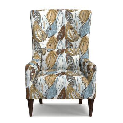 Lesley Wingback Chair Upholstery: Blue/Brown/Tan/Cream
