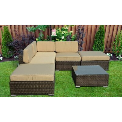 Lela L-Shaped 6 Piece Deep Seating Group with Cushion