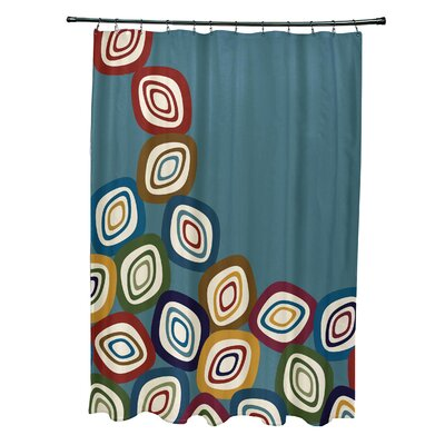 Marc Falling Leaves Geometric Print Shower Curtain Color: Teal