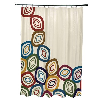 Marc Falling Leaves Geometric Print Shower Curtain Color: Cream/Multi