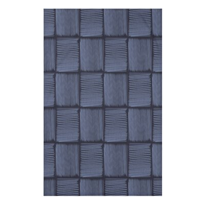 Mavis Basketweave Geometric Print Throw Blanket Size: 50 H x 60 W x 0.5 D, Color: Blue