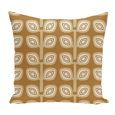 Melba Leaf Tree Geometric Print Throw Pillow Color: Gold