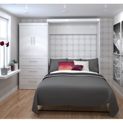 Shanna Queen Murphy Bed Upholstery: White