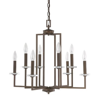 Malcolm 8-Light Candle-Style Chandelier Finish: Burnished Bronze, Size: 21.75 H x 24.25 W