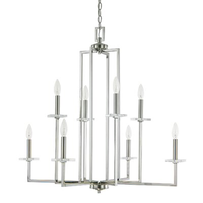 Malcolm 8-Light Candle-Style Chandelier Finish: Polished Nickel, Size: 31.5 H x 32.5 W