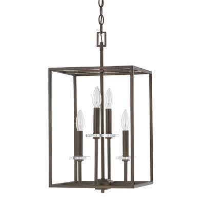 Malcolm 4-Light Foyer Pendant Finish: Burnished Bronze, Size: 22.75 H x 12 W