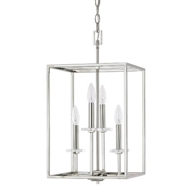 Malcolm 4-Light Foyer Pendant Finish: Polished Nickel, Size: 22.75 H x 12 W