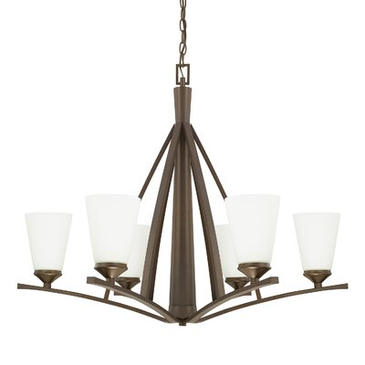 Lora 6-Light Shaded Chandelier Finish: Burnished Bronze