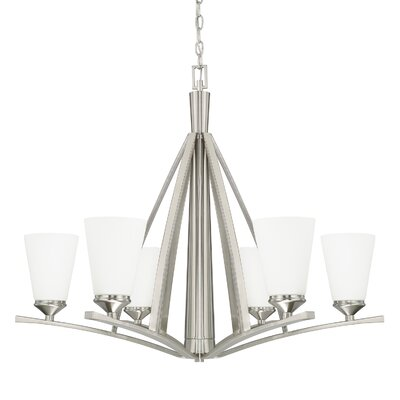 Lora 6-Light Shaded Chandelier Finish: Brushed Nickel