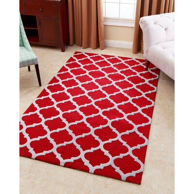 Lula Hand-Tufted Red Area Rug Rug Size: 5 x 8