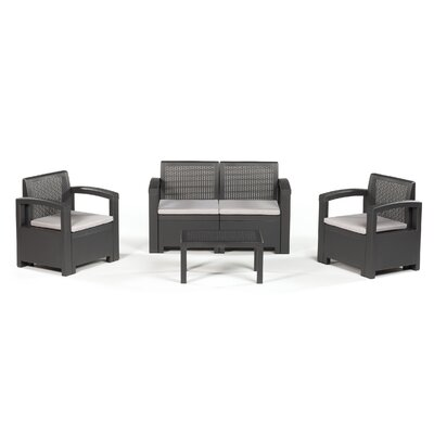 Elena 4 Piece Seating Group Finish: Dark Gray