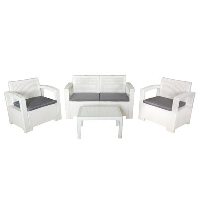 Elena 4 Piece Seating Group Finish: White